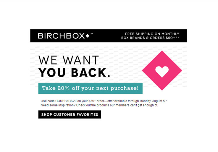 9589df92d692d Enjoei. A Birchbox incentiva o cliente a voltar a comprar na loja e oferece  20% de desconto na próxima compra.